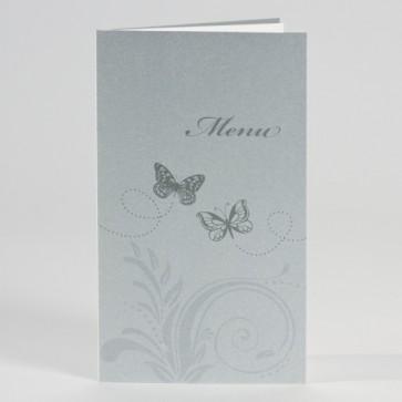Hochzeitsmenükarte in graumetallic mit Schmetterlingen