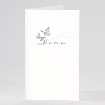 Weiße Hochzeitsmenükarte mit Schmetterlingen