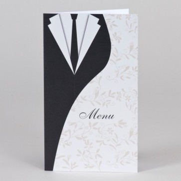 Günstige Menükarte Hochzeit im Brautkleiddesign