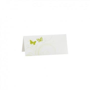Weiße Hochzeitstischkarte mit grünen Schmetterlingen