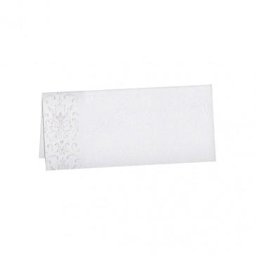 Neutrale Tischkarte in Weiß mit Ornamentdruck