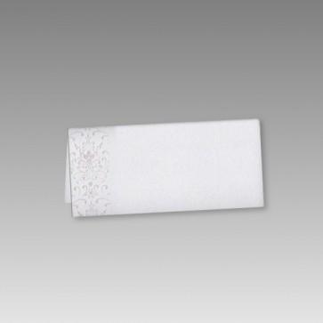 Neutrale Tischkarte Konfirmation in Weiß mit Ornamentdruck