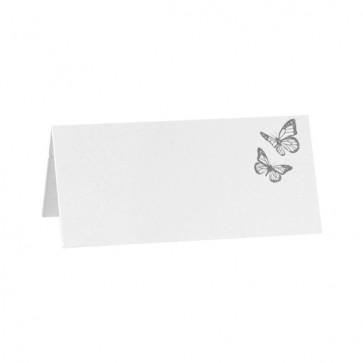 Weiße Tischkarte mit Schmetterlingen in Silber
