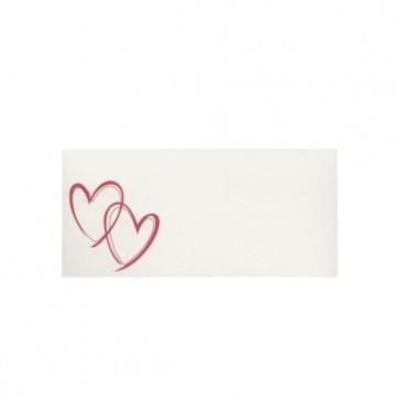 Tischkarte Hochzeit mit zwei roten Herzen