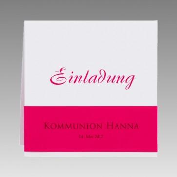 Moderne Einladungskarte zur Kommunion in weiß und pink für Mädchen