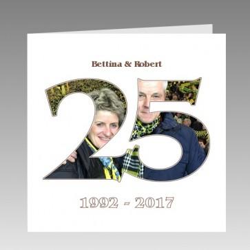 Einladungskarte zur Silberhochzeit mit eigenem Foto