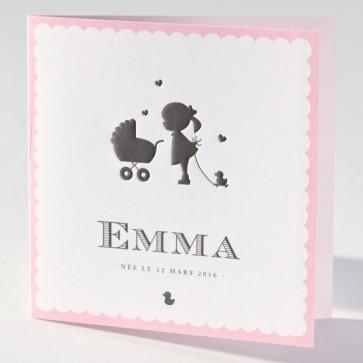 Geburtstanzeige mit rosa