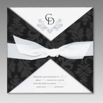 Geschmackvolle Hochzeit Einladungskarte mit schwarzem Muster und Schleife