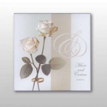 hochzeitseinladung mit zwei wei bl henden rosen. Black Bedroom Furniture Sets. Home Design Ideas