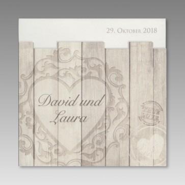 Einladungskarte Hochzeit in Holzoptik