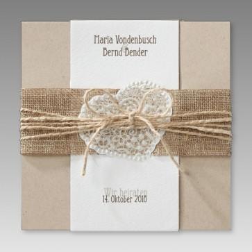 Trendige Hochzeitseinladung mit Jute-Banderole