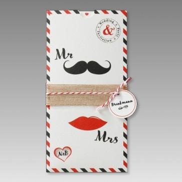 Moderne Hochzeitseinladungskarte Mr & Mrs, kreativ