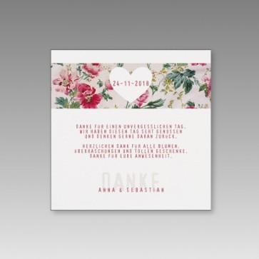 Dankkarte zur Hochzeit mit bunten Blumen, 4er Bogen