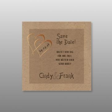 Save the date Karten Hochzeit mit Kupfer-Doppelherz