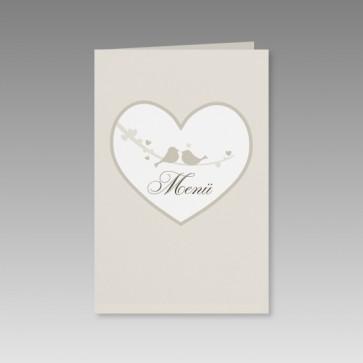 Hochzeitsmenükarte romantisch mit Herz und Vögelchen