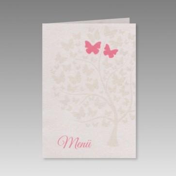 Hochzeitsmenükarte mit Schmetterlingen und romantischen Liebesbaum