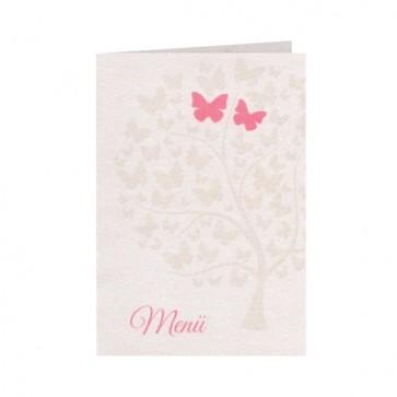 Menükarte mit Schmetterlingen und romantischen Liebesbaum