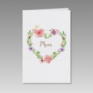Menükarte Hochzeit mit romantischem Blumenherz