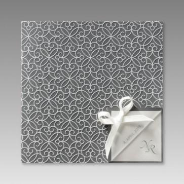 Moderne Einladung zur Silberhochzeit, grau