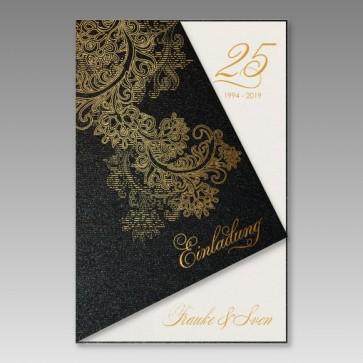Romantische Einladungskarte Silberhochzeit in elegantem Schwarzmetallic
