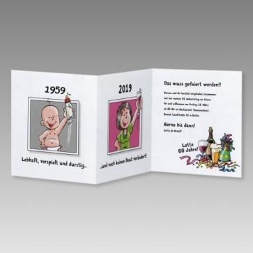Lustige Frauen Einladungskarte 60. Geburtstag mit Comics