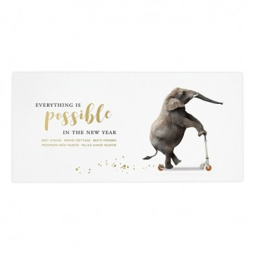 Weihnachts- und Neujahrskarte mit Elefant