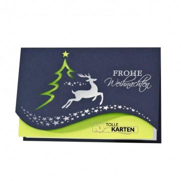 Blaue Weihnachtskarte mit Schöner Formstanzung - 868091