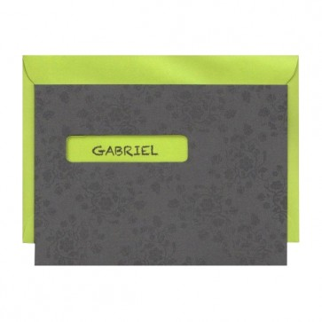 Graue Kommunionseinladung mit grünem Kuvert