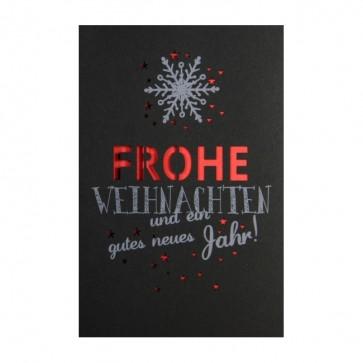 moderne weihnachtskarte schwarz mit rotem einleger. Black Bedroom Furniture Sets. Home Design Ideas