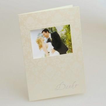 Dankeskarte Hochzeit mit Blumenornamenten und Dankestext
