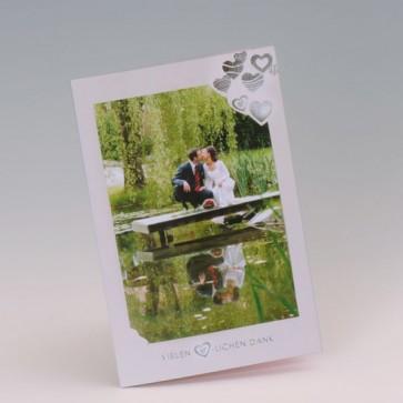 Hochzeit Danksagungskarte mit Glitzerherzen und Text