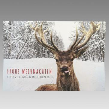 Frontansicht Weihnachtskarte Rentier frech