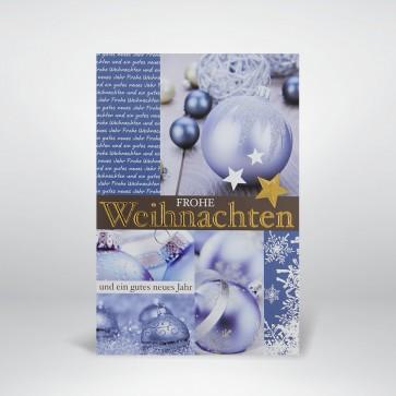 Weihnachtskarte mit blauen Cjristbaumkugeln - FW13791