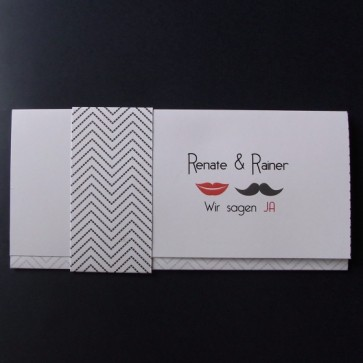 Schöne Hochzeitseinladungskarte mit Schnurrbart und roten Lippen