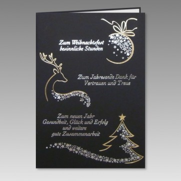 Geschäftliche Weihnachtskarte mit Dank für Vetrauen u. Treue