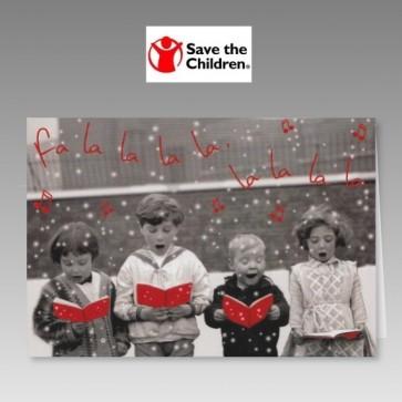 Spendenkarte zugunsten Save the Children mit singenden Kindern