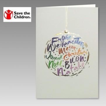 internationale Weihnachtskarte mit Spendenhinweis für Save the Children