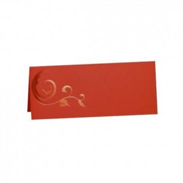Tischkarte rot mit Glanzornament