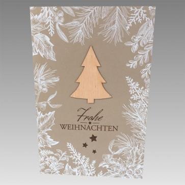 Frontansicht Weihnachtskarte aufgeklebter Baum