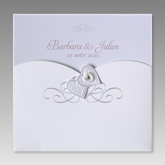 Schön Romantische Hochzeitseinladung Mit Perlen Und Herzen