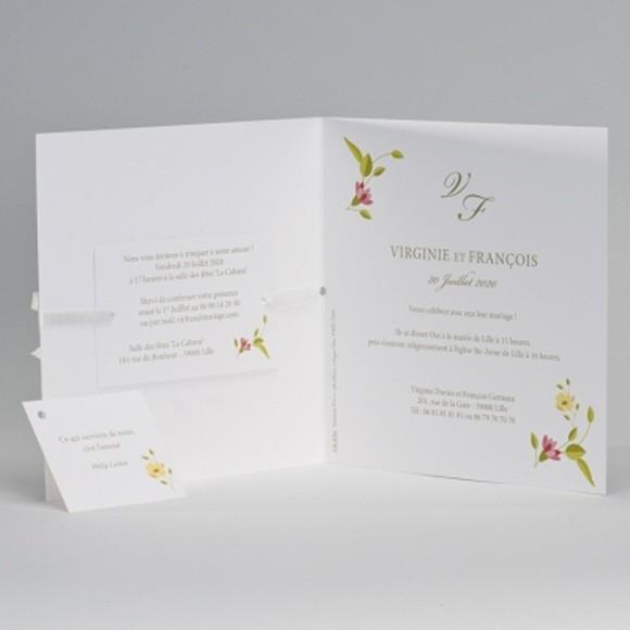 Einladungskarte Zur Hochzeit Mit Buntem Blumenkranz