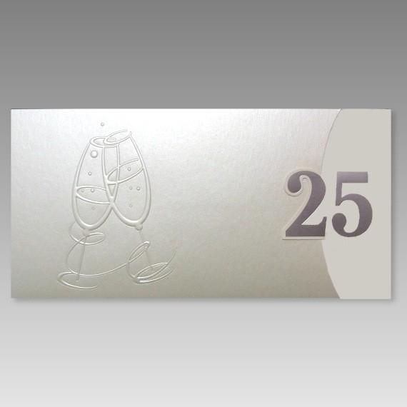 Einladungskarten Silberhochzeit Einladungskarten: Exklusive Einladungskarte Silberhochzeit Mit Großer 25
