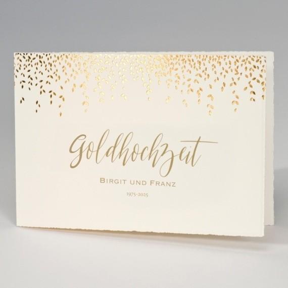 goldhochzeit einladung aus edlem bütten karton
