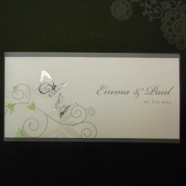 Fesselnd Einladung Zur Hochzeit Mit Silberglanzfolien Schmetterlingen