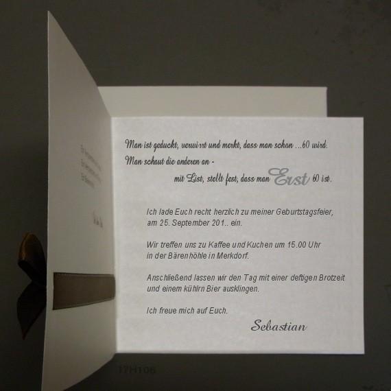 exklusive einladungskarte zum 60 geburtstag mit schleife. Black Bedroom Furniture Sets. Home Design Ideas