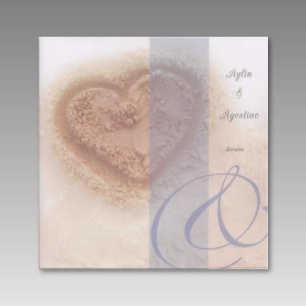 Einladung Zur Hochzeit Mit Einem Herz Im Sand
