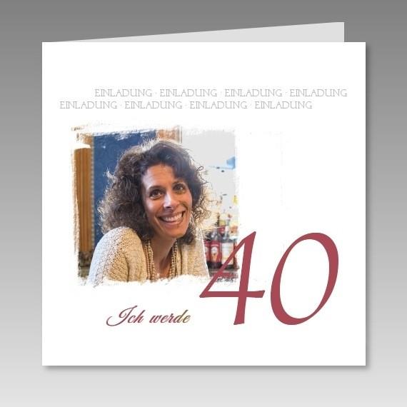 individuelle einladungskarte zum 40 mit foto