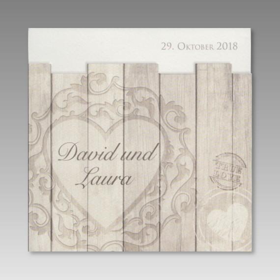 Rustikale Einladungskarte Zur Hochzeit Holzdesign Mit Herz