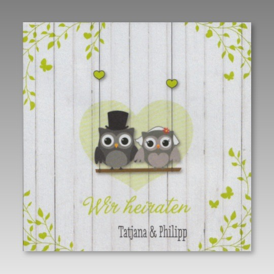 Preiswerte Einladung Zur Hochzeit Mit Eulenbrautpaar