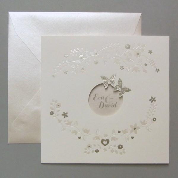 Hochzeitseinladung Mit Schmetterlingen Und Blumen
